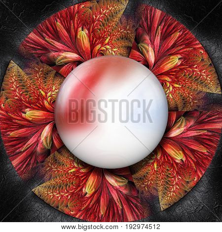 3D render of colorful plastic fractal red flower disc embossed on leather with glossy red white button