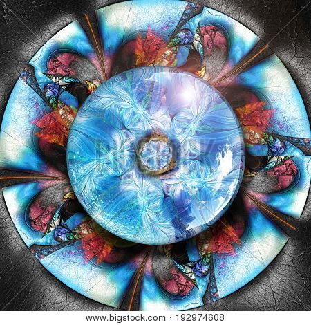 3D render of colorful plastic fractal flower disc embossed on leather with blue flower glossy button