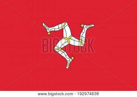 Isle of Man in the British Isles national flag, triskelion of three armoured legs with golden spurs, upon a red backgroun. Vector flat style illustration