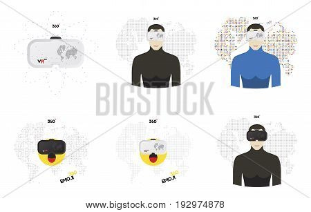 Virtual reality glasses for a smartphone. A set of human and emoji elements in virtual reality glasses on a digital world map background. Flat vector illustration EPS10