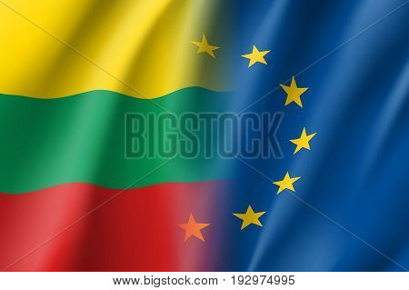 Symbol of Lithuania is EU member. European Union sign with twelve gold stars on blue and Lithuania national flag. Vector isolated icon