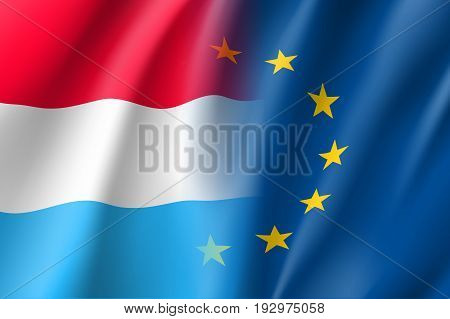 Symbol of Luxembourg is EU member. European Union sign with twelve gold stars on blue and Luxembourg national flag. Vector isolated icon