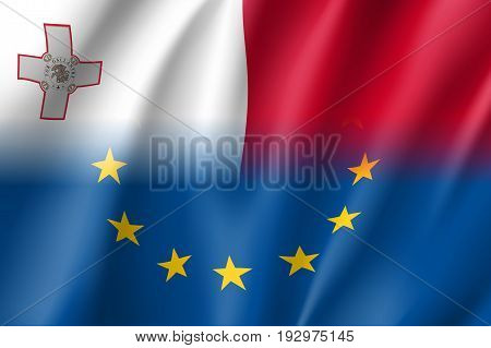 Symbol of Malta is EU member. European Union sign with twelve gold stars on blue and Malta national flag. Vector isolated icon