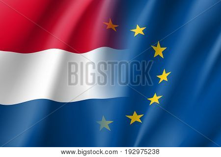 Symbol of Netherlands is EU member. European Union sign with twelve gold stars on blue and Netherlands national flag. Vector isolated icon