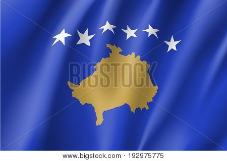 Waving flag of the Republic of Kosovo, partially recognised state in Southeastern Europe, blue field with a map in gold, surmounted by six white stars, in the centre. Vector flat style illustration