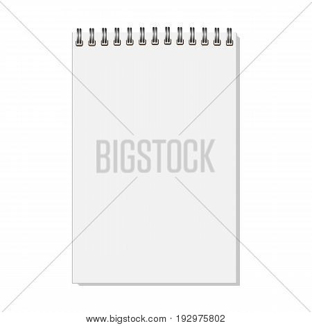 Blank realistic closed spiral notebook isolated on white background. Vertical copybook. Template mock up of organizer or diary. Vector.