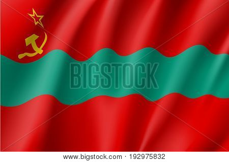 Transnistria, the Pridnestrovian Moldavian Republic flag, three horizontal bands of red, green and red, with a hammer and sickle in the canton. Vector realistic style illustration