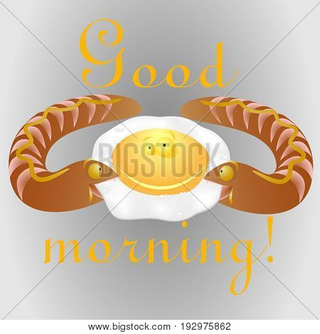 Fried eggs and sausage-track / fried eggs smile / vector