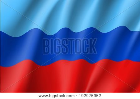 Luhansk People's Republic flag, landlocked self-proclaimed state in eastern Ukraine, blue, navy and red tricolor, state emblem. Vector realistic style illustration