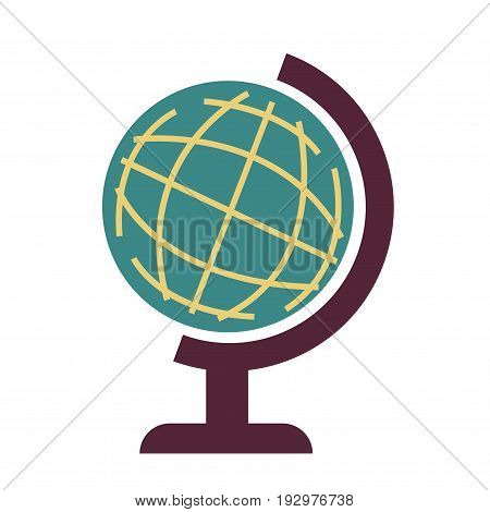 World globe isolated on white vector graphic illustration in flat design. Earth map on special big ball with thin yellow lines and standing on brown leg. School object for studying our sphere