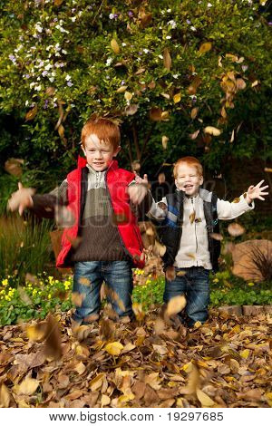 Two happy, smiling brothers playing in  autumn leaves in a park or garden