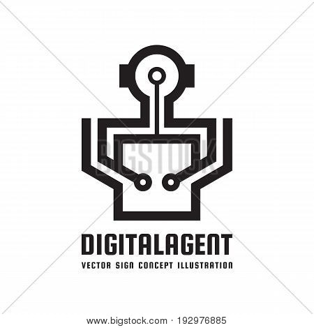 Digital agent manager - creative logo template concept illustration. Android creative sign. Robot human character icon. Cyborg symbol. Graphic design element.