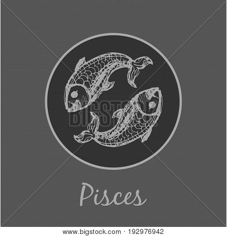 Pisces Astrological zodiac symbol. Horoscope sign background. Sketch style. Vector Illustration.