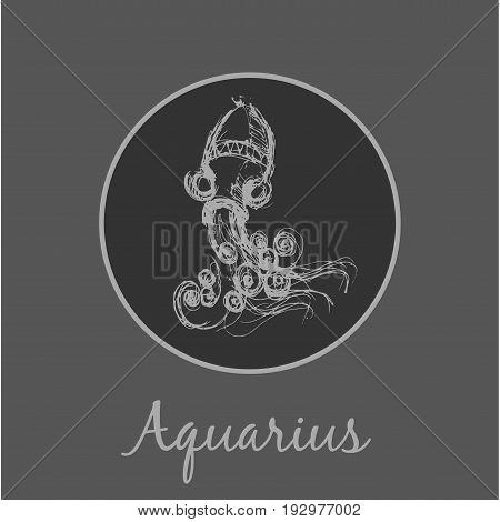 Aquarius Astrological zodiac symbol. Horoscope sign background. Sketch style. Vector Illustration.