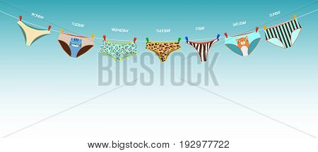 Funny female panties of different kinds on the rope. Days of the week