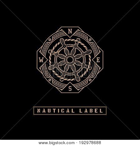 Template design label with rope, steering wheel and directions of the compass in trendy linear style on black background. Vector illustration.
