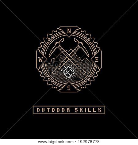 Template design label with gem, mountains, two ice axes and direction of the compass in trendy linear style on black background. Vector illustration.
