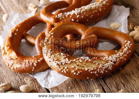 Traditional German Salted Pretzel Bread Macro On The Table. Horizontal