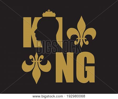 King logo. Royal luxury emblem. Face and crown icon. Business fantasy golden badge with King word