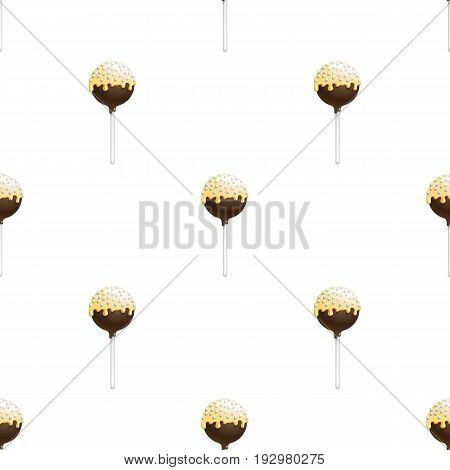 Seamless pattern of cake pops on a stick, isolated on a white background. Food background in vector. The patterns for the decoration of children holiday or birthday