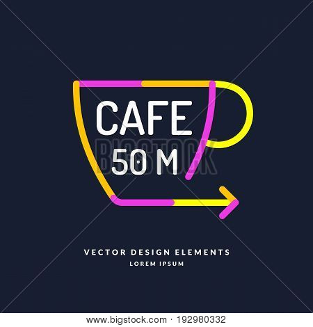 Bright colored pointer for a cafe with a Cup and an arrow in a flat minimalist style on a dark background