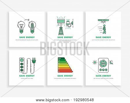 Set of vector banners save electricity isolated on white background. The problem of saving electricity.