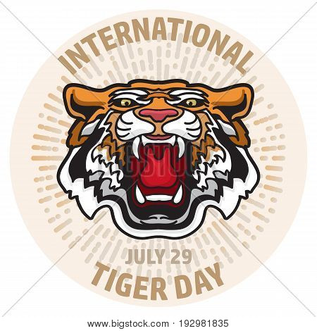International Tiger Day poster template with angry tiger head. Vector illustration. Card in cartoon style.