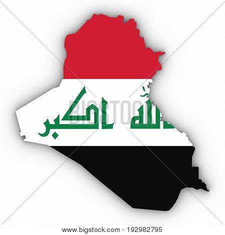 Iraq Map Outline With Iraqi Flag On White With Shadows 3D Illustration
