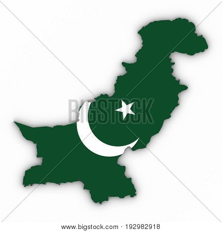Pakistan Map Outline With Pakistani Flag On White With Shadows 3D Illustration