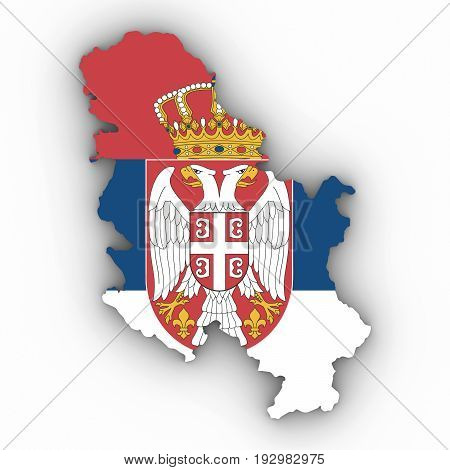 Serbia Map Outline With Serbian Flag On White With Shadows 3D Illustration