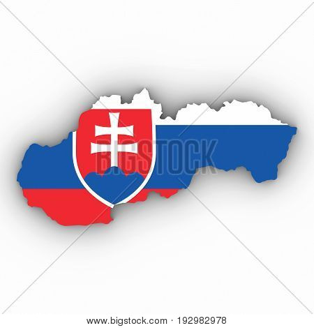 Slovakia Map Outline With Slovakian Flag On White With Shadows 3D Illustration