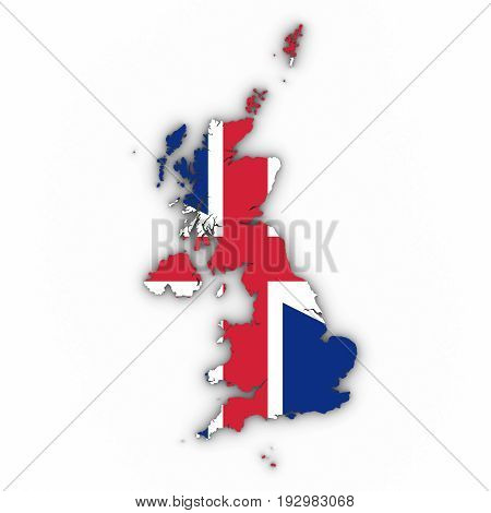 United Kingdom Map Outline With British Flag On White With Shadows 3D Illustration