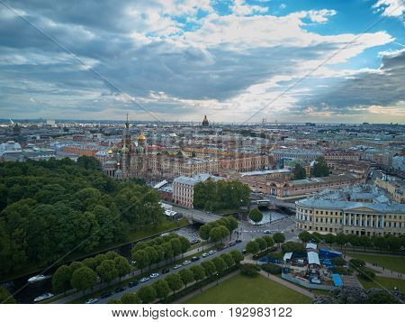 Aerial view of the Church of the Savior on Blood Saint Petersburg Russia