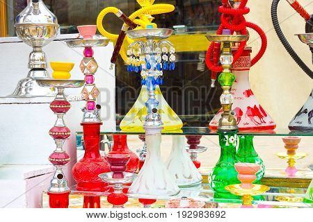 Sharm El Sheikh, Egypt - April 13, 2017: The hookah at the gift shop in Egyptian souvenir shop at Sharm El Sheikh, Egypt on April 13, 2017