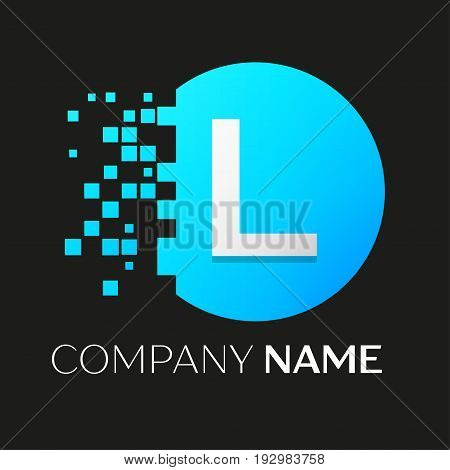 Realistic letter L vector logo symbol in the colorful circle with shattered blocks on black background. Pixel Motion. Vector template for your design