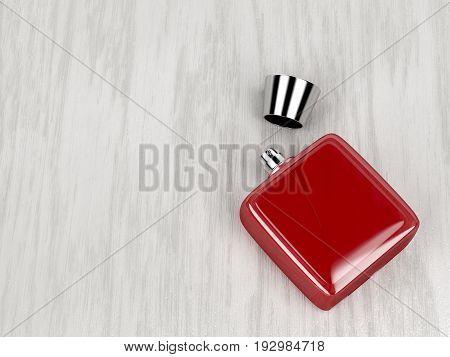 Red perfume bottle on wood background, 3D illustration