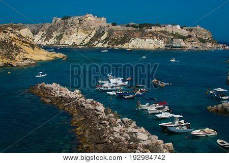 ISOLE TREMITI, ITALY - JUNE 25, 2017: Harbor of San Domino island with boats