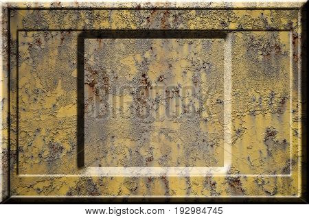 Texture Of Yellow Rough Rusted Metal Surface With Bulky Gray Highlighted Portions Which Can Be Seen