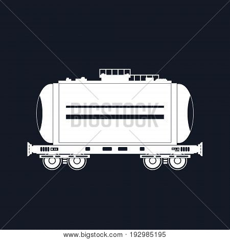 White Silhouette Tank on Railway Platform Isolated on Black Railway Transport Cistern for Transportation of Liquid and Loose Freights Vector Illustration