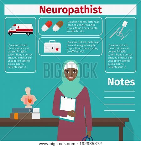 Female character of neuropathist and medical equipment icons with infographics elements for medical and pharmaceutical industry. Vector illustration