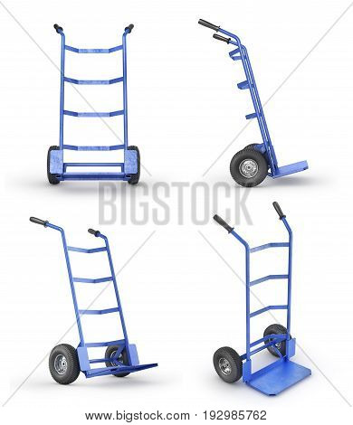 Set of empty hand trucks in front view isolation on a white background. 3d illustration