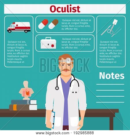 Oculist and medical equipment icons with infographics elements for medical and pharmaceutical industry. Vector illustration