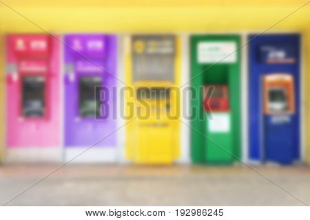 Abstract blur background of ATMs Machine for withdrawing or deposit cash money
