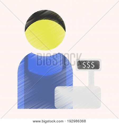 Flat Icon in Shading Style man cashier