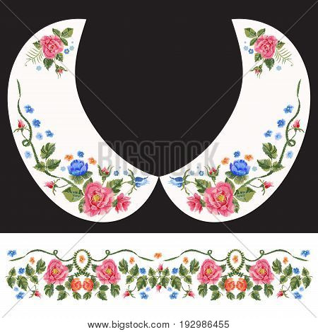 Embroidery traditional neck pattern with red and blue roses and forget me not. Vector floral design with flowers for fashion collar and belt.