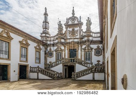 VILA REAL,PORTUGAL - MAY 15,2017 - View at the courtyard of Mateus Palace near Vila Real in Portugal. Vila Rael is located in a promontory formed by the gorges of the Corgo and Cabril rivers.