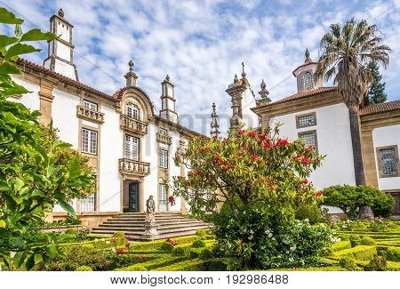 VILA REAL,PORTUGAL - MAY 15,2017 - Garden and Palace of Mateus near Vila Real in Portugal. Vila Rael is located in a promontory formed by the gorges of the Corgo and Cabril rivers.