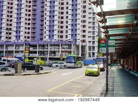 Cars Run On Street In Chinatown, Singapore