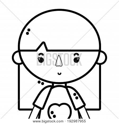 line tender girl child with pijama and hairstyle vector illustration