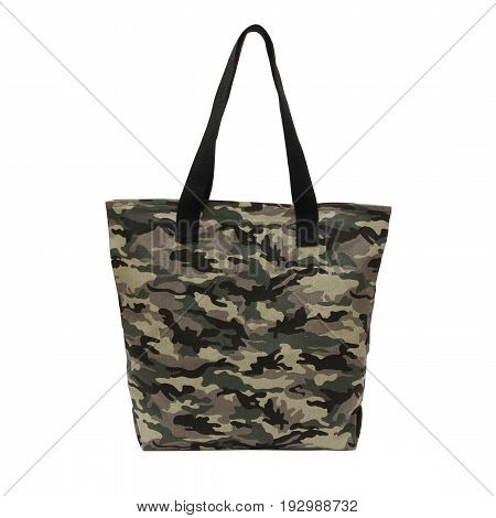 recycled cotton tote camouflage on white background